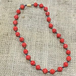 Bead for life red handmade paper beaded necklace